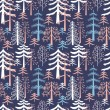 图库矢量图片: Fir trees seamless pattern