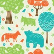 Forest animals seamless pattern — Stock Vector