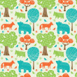 Stock Vector: Forest animals seamless pattern
