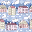 Winter city seamless pattern — Stock Vector