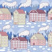 Winter city seamless pattern — Stockvektor