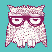 Owl in glasses — Stock Vector