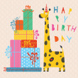 Happy birsday greeting card with bears — Stock Vector