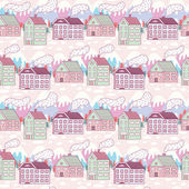 Winter city seamless pattern — Stok Vektör