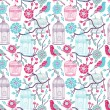 Birdcages seamless pattern — Vector de stock