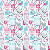 Birdcages seamless pattern — Stock Vector
