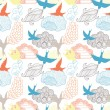 Birds and clouds seamless pattern — Stock Vector #43654789
