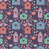 Seamless floral pattern with birdhouses — Stockvektor