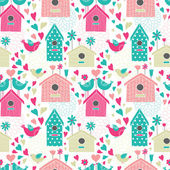 Seamless floral pattern with birdhouses — Stock Vector