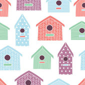 Birdhouses seamless pattern — Stock Vector