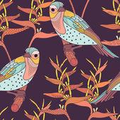 Sem costura padrão floral com pássaros — Vetorial Stock
