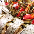 Grilled Sudak Fish and Vegetables - Stock Photo