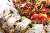 Grilled Sudak Fish and Vegetables — Stock Photo