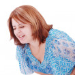Young beautiful woman with stomach-ache - Stock Photo