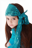 Portrait of a little fashionable girl in retro handkerchief who — Stock Photo