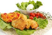 Italian panzerotti with ingredients — Stock Photo