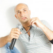 Singer on a white background — Stock Photo