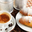 Stock Photo: Brioches with cup of coffee and sugar