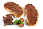 Bread with chocolate cream — Stock Photo