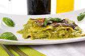Lasagna with pesto — Stock Photo
