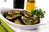 Grilled eggplant an parsley — Stock Photo