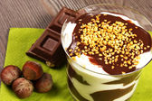 Chocolate and cream dessert — Stock Photo