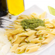 Pasta with pesto — Stock Photo
