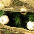 Christmas balls and tree — Stock Photo