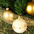 Christmas balls and tree - Stock Photo