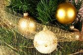 Christmas balls and tree — Stock Photo