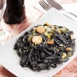 Squid ink pasta — Stock Photo