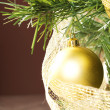 Balls on christmas tree — Stock Photo