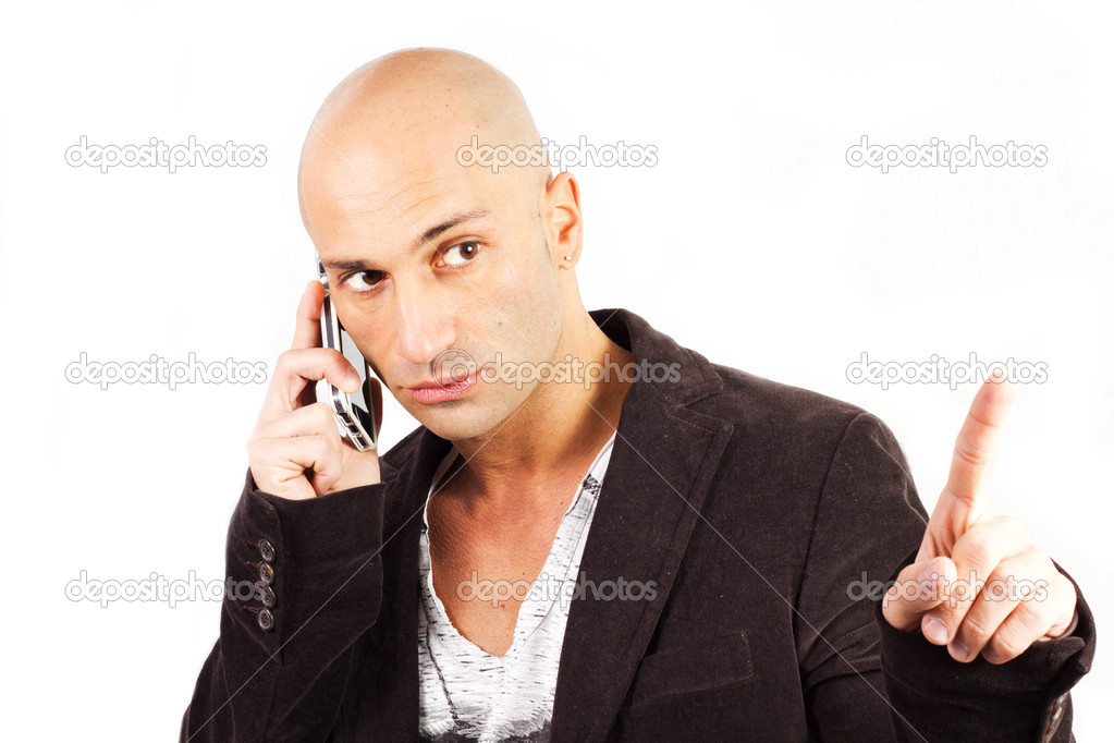 Man who phones on a white background — Stock Photo #19037421