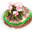 Chocolate cake with rose — Stock Photo