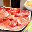 Stock Photo: Pancakes with ham and meat products