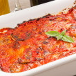 Eggplants parmigiana traditional italian recipe — Stock Photo