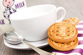 Śniadanie z mlekiem i herbatniki — Zdjęcie stockowe