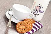 Desayuno en la mesa de madera — Foto de Stock