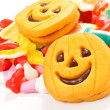 Halloween biscuits and candy — Stock Photo