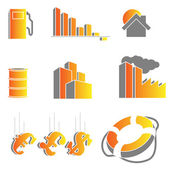 Vector crisis icons — Stock Vector