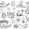 Vector Sketched Christmas Icons — Stock Vector