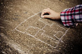 Child and Chalk — Foto de Stock