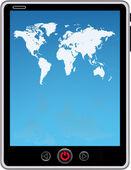 Toque azul tela digital tablet com mapa-múndi — Vetorial Stock