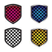 Checkered shields — Stock Vector
