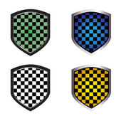 Checkered shields — Vector de stock