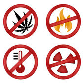 Set of web signs. forbidden canabis, radiation, high temperature, fire — Stock Vector