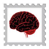 Plantilla de estampilla con cerebro — Vector de stock