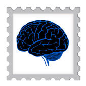 Postage stamp template with brain — Stock Vector