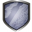 Shield with draw of line circuit board - Stock vektor