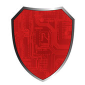 Shields with circuit board — Stock Vector